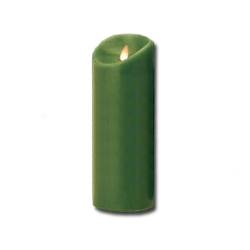 Candela grande verde a led con fiamma movibile - Luminara