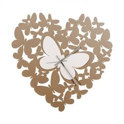 Orologio Cuore Butterfly, Beige e Bianco - Arti e Mestieri