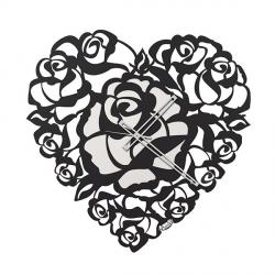 Orologio Cuore Rose, Nero - Arti e Mestieri