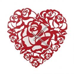 Orologio Cuore Rose, Rosso - Arti e Mestieri