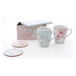 Set 2 mug con 2 sottotazze in una scatola in latta Amore - Thun