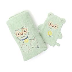 Confezione bagnetto Teddy boy (telo bagnetto, guanto in spugna) - Thun