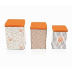 Set 3 scatole in latta allover tulip - Thun
