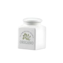Conserva, Barattolino ceramica Lt. 0,175 origano - La Porcellana Bianca