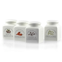Conserva, Barattolini ceramica spezie 4 pz mix - La Porcellana Bianca