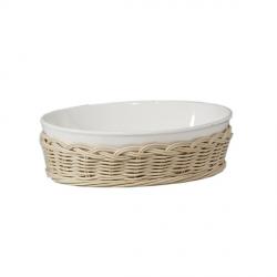 Midollino, Supporto fiesole teglia ovale Cm. 15x10,5x5,5 - La Porcellana Bianca