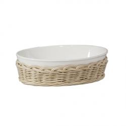 Midollino, Supporto fiesole teglia ovale Cm. 19x13,5x6 - La Porcellana Bianca