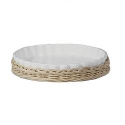 Midollino, Supporto arezzo teglia crostata Cm. 25 - La Porcellana Bianca