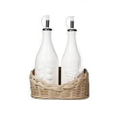 Midollino, Base bottiglie olio e aceto - La Porcellana Bianca