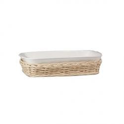 Midollino, Supporto anghiari teglia rettangolare stondata Cm. 26x15 - La Porcellana Bianca