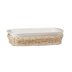 Midollino, Supporto anghiari teglia rettangolare stondata Cm. 30x24 - La Porcellana Bianca