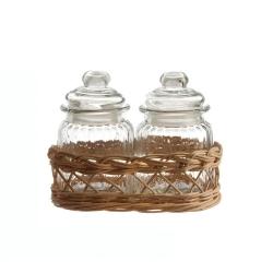Midollino, Supporto per 2 barattoli versilia - La Porcellana Bianca