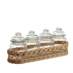 Midollino, Supporto per 4 barattoli versilia - La Porcellana Bianca