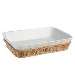 Midollino, Supporto anghiari teglia lasagne Cm. 35x25xh.7,5 - La Porcellana Bianca