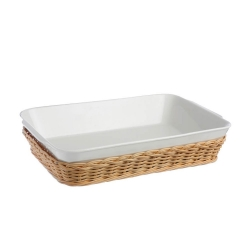 Midollino, Supporto anghiari teglia lasagne Cm. 30x22xh.7,5 - La Porcellana Bianca