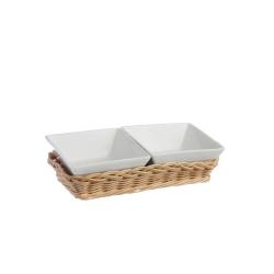 Midollino, Supporto per 2 ciotole quadrate Cm. 10 prato - La Porcellana Bianca