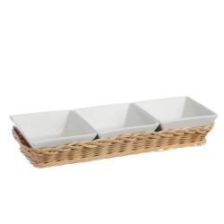 Midollino, Supporto per 3 ciotole quadrate Cm. 10 prato - La Porcellana Bianca