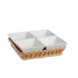 Midollino, Supporto per 4 ciotole quadrate Cm. 10 prato - La Porcellana Bianca