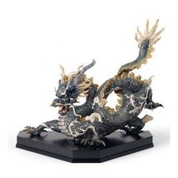 Gran dragone (blu e dorato) - Lladrò
