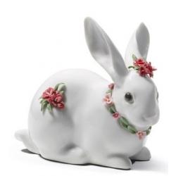 Coniglio con fiori (garofani) - Lladrò