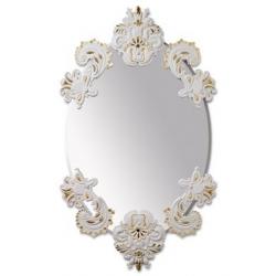Specchio ovale senza cornice(bianco/oro) - Lladrò