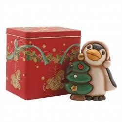 Pinguino con albero di natale + scatola in latta - Thun