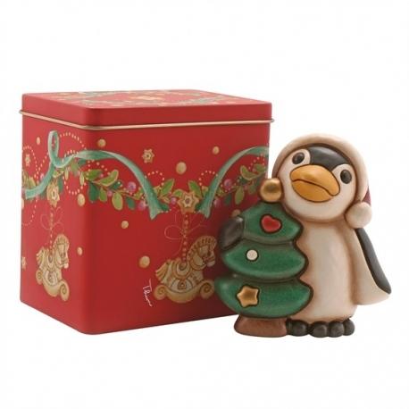 Scatola Latta Biscotti Natale.Pinguino Con Albero Di Natale Scatola In Latta Thun