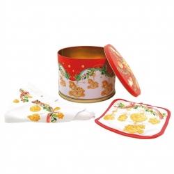 Confezione barattolo in latta con strofinaccio e presina Dolce Natale - Thun