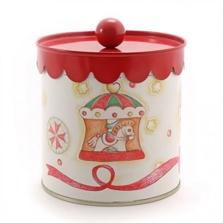 Scatola Latta Biscotti Natale.Scatola In Latta Piccola Giostra Del Natale Thun