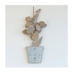 Orologio Orchidea Parete, Beige - Arti e Mestieri