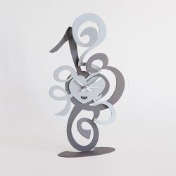 Orologio Truciolo Tavolo, Ardesia e Alluminio - Arti e Mestieri