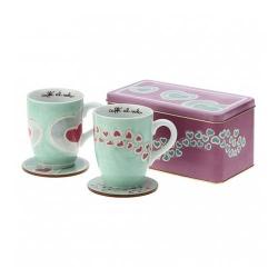 Set 2 mug con 2 sottotazze in scatola in latta Amore - Thun