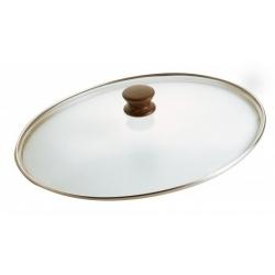 Coperchio ovale vetro pomolo legno - Pentolpress