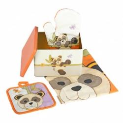 Confezione scatola in latta, guanto, strofinaccio e presina Panda - Thun