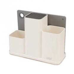 Counter store, Organizer bianco per utensili da cucina con tagliere - Joseph Joseph