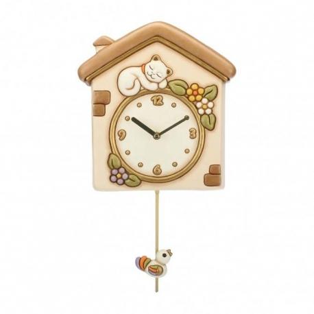 orologio a pendolo gatto e uccellino thun idea regalo