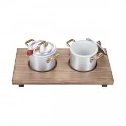 You And Me, Set 2 casseruole mini cm.10 con vassoio legno - Mopita