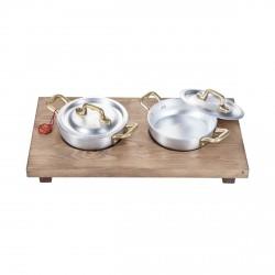 Duo, Set 2 tegami mini cm.12 con vassoio legno - Mopita