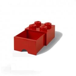 Contenitore Brick Drawer 4 bottoni, Rosso - Lego