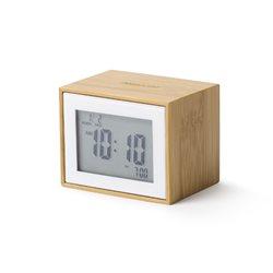 Bamboo orologio sveglia con radio contRollo, Bamboo/Bianco - Lexon