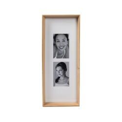 Cornice rettangolare X2 legno naturale Cm. 52x21x5 (2 foto 10x15) - L'oca Nera