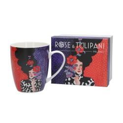 "Ottomarzo, Mug ""8"" gb Cm. 8,5, 12xh. 10,5 Cm. - Rose & Tulipani"
