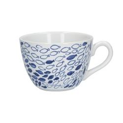 Blue, Tazza colazione fishes 450 Cc., Cm. 11,5, h. 8,5 Cm. - Rose & Tulipani