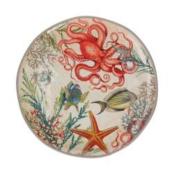 Sea life, Vassoio rotondo melamina Cm. 42, h. 2 Cm. - Rose & Tulipani