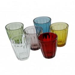 Sinfonia, 6 bicchieri mix colori assortiti 226 Cc., Cm. 8,3, h. 9,5 Cm. - Rose & Tulipani