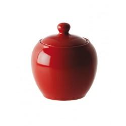 F&C red, Zuccheriera con coperchio 300 Cc., Cm. 10, h. 12 Cm. - Rose & Tulipani