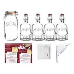 Set gin 4 bottiglie Lt. 0,25 e barattolo Lt. 2 - Kilner