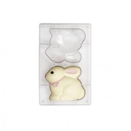 Stampo Coniglio di cioccolato in policarbonato 2 cavità Cm. 13x11 - Decora