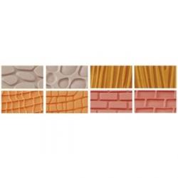 Set 4 fogli decorativi effetto Muro, Legno, Pietra, Pelle