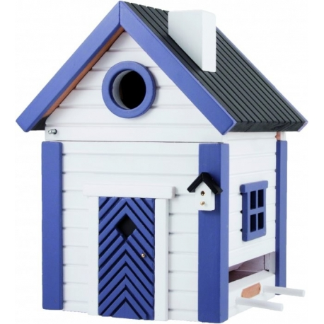 "Nido per ucelli con mangiatoia ""White and Blue Cottage Plus"""